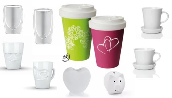 Tassen und Becher aus Porzellan